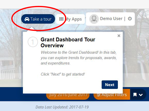 Screen capture of Take a Tour button in Sponsored Programs Dashboard