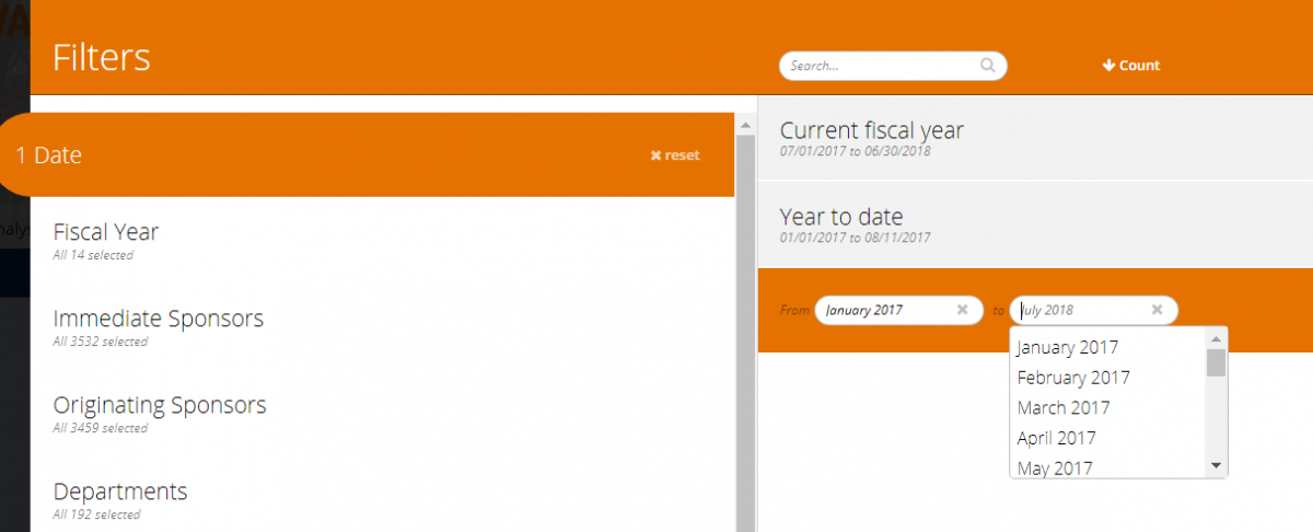 Screen shot of customizable fiscal-year filters
