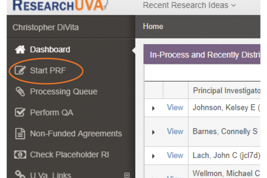 Screen shot of Start ePRF page in ResearchUVA