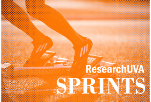ResearchUVA Sprints graphic showing sprinter on blocks at start of race